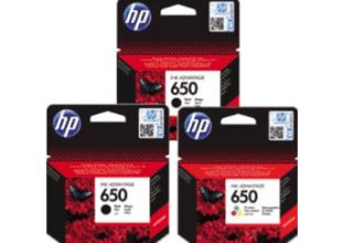 זוג ראשי דיו שחורים+ ראש דיו צבעוני מקורי HP 650