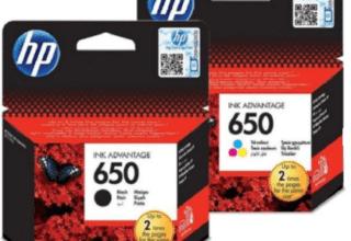 זוג ראשי דיו HP 650 שחור וצבעוני