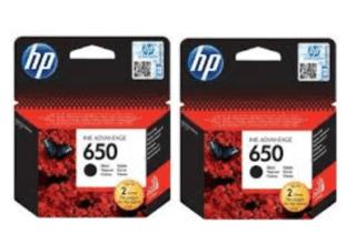 זוג ראשי דיו שחורים HP 650