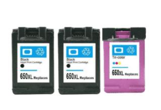זוג ראשי דיו שחורים + צבעוני HP 650XL