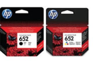זוג ראשי דיו שחור וצבעוני מקוריים HP 652