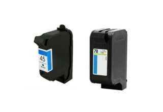 זוג ראשי דיו תואמים: HP 45 שחור + HP 78 צבעוני